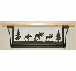 Moose Rustic Towel Bar with Shelf