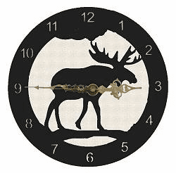 Moose Smooth Edge Rustic Clock