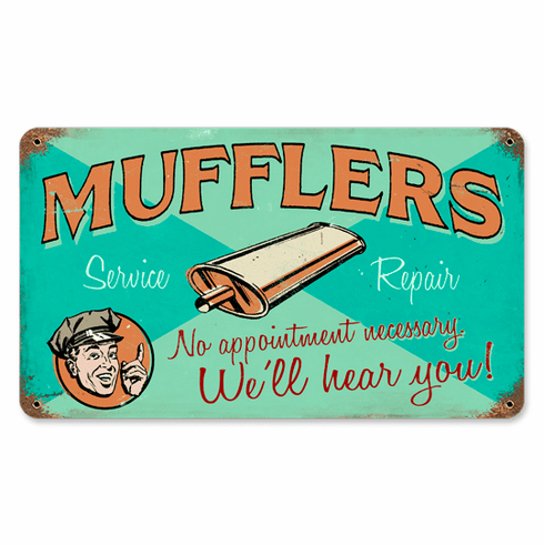 Mufflers Sign - Retro Muffler Ad Sign