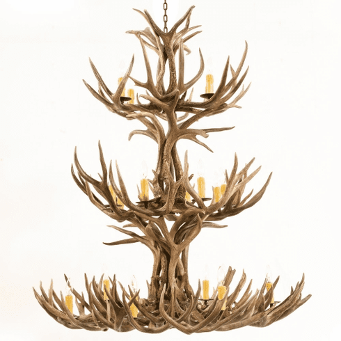 Mule Deer Antler 12 Light Chandelier