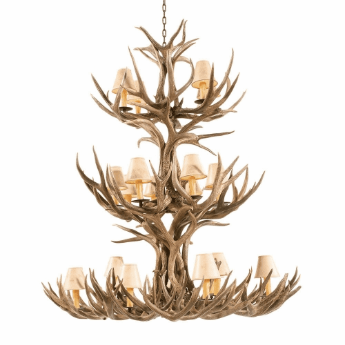 Mule Deer Antler 20 Light Chandelier with Paper Shades