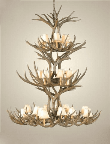 Mule Deer Antler 20 Light Chandelier with Rawhide Shades