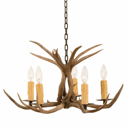 Mule Deer Antler 5 Light Chandelier