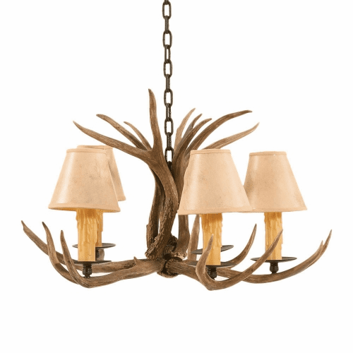 Mule Deer Antler 5 Light Chandelier with Paper Shades