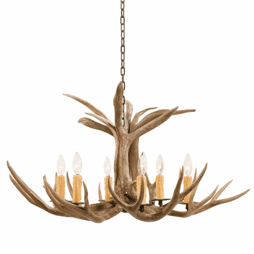 Mule Deer Antler 6 Light Chandelier
