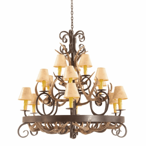 Mule Deer Antler 6 Light Chandelier with Paper Shades