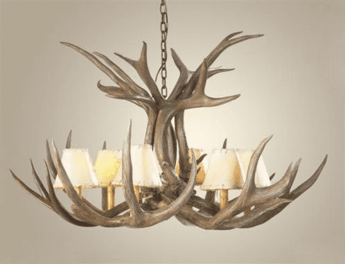 Mule Deer Antler 6 Light Chandelier with Rawhide Shades