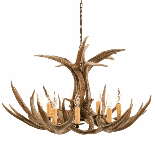 Mule Deer Antler 8 Light Chandelier