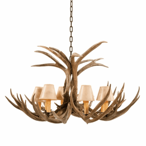 Mule Deer Antler 8 Light Chandelier with Paper Shades