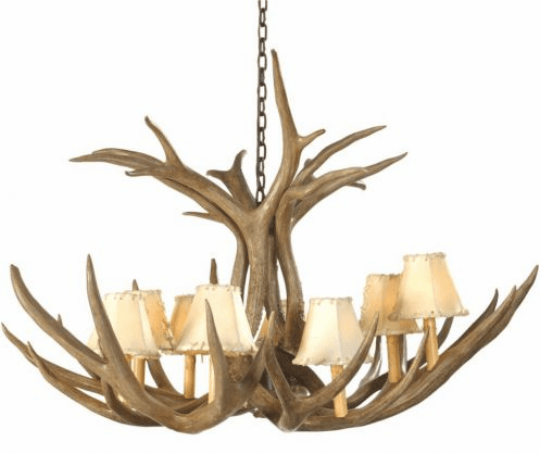 Mule Deer Antler 8 Light Chandelier with Rawhide Shades