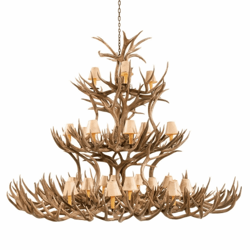Mule Deer Antler Chandelier with Paper Shades