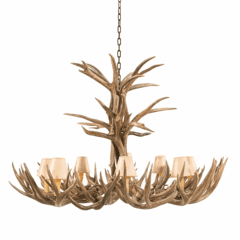 Mule Deer Antler Extra-Large Chandelier with Paper Shades