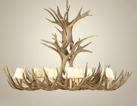 Mule Deer Antler Extra-Large Chandelier with Rawhide Shades
