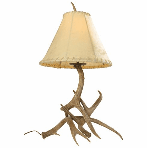 Mule Deer Antler Table Lamp (Rawhide Shade)