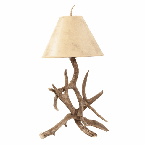 Mule Deer Antler Table Lamp with Paper Shade