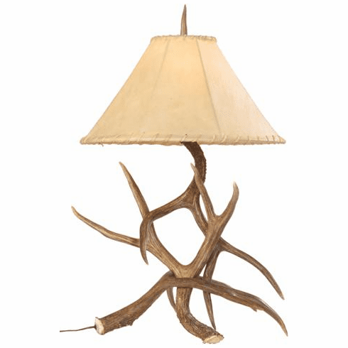 Mule Deer Antler Table Lamp with Rawhide Shade