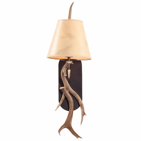 Mule Deer Antler Wall Sconce with Wrought Iron Back Plate (Paper Shades)