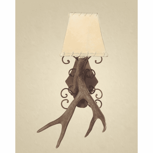 Mule Deer Antler Wall Sconce with Wrought Iron Back Plate (Rawhide Shade)