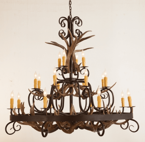 Mule Deer Antlers and Wrought Iron Chandelier