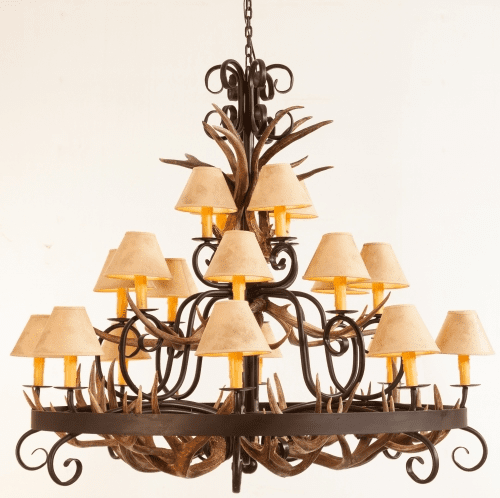 Mule Deer Antlers and Wrought Iron Chandelier (Paper Shades)