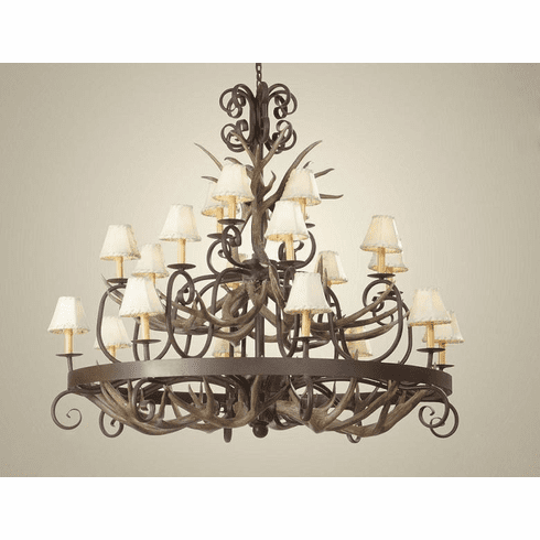 Mule Deer Antlers and Wrought Iron Chandelier (Rawhide Shades)