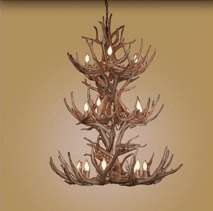 Mule-Deer Triple Tier 18 Light Chandelier