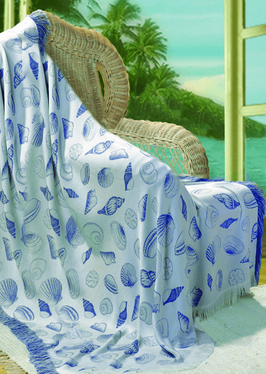 Natural and Periwinkle Seashells Rayon Throw