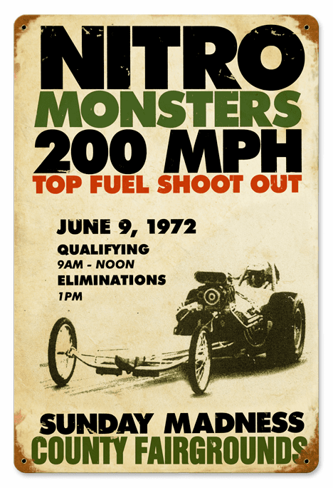 Nitro Monsters Sign - Drag Races