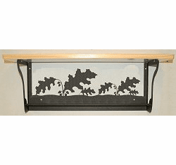Oak Leaf Rustic Towel Bar with Shelf