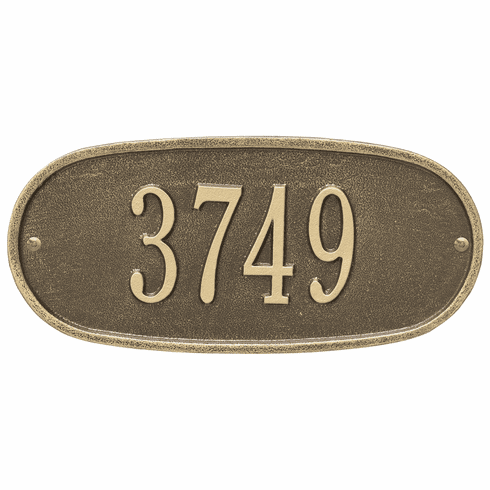 Oval Plaque Standard Wall One Line Plaque in Antique Brass