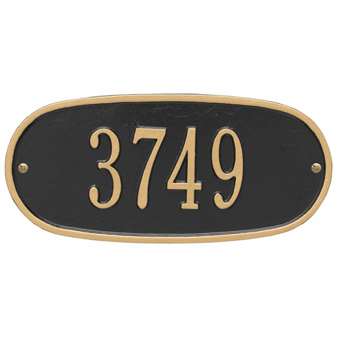 Oval Plaque Standard Wall One Line Plaque in Black and Gold
