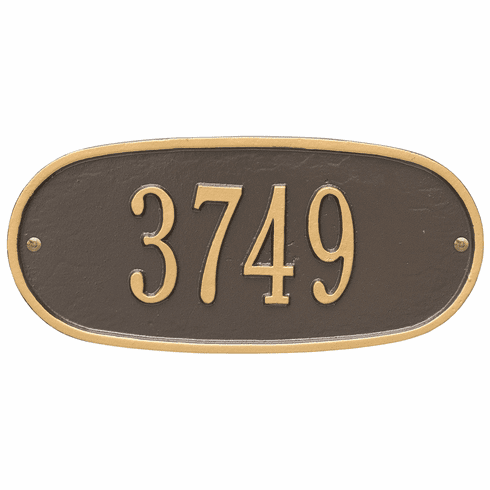 Oval Plaque Standard Wall One Line Plaque in Bronze and Gold