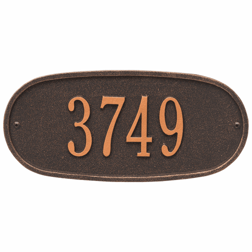 Oval Plaque Standard Wall One Line Plaque in Oil Rubbed Bronze