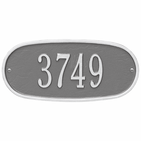 Oval Plaque Standard Wall One Line Plaque in Pewter and Silver