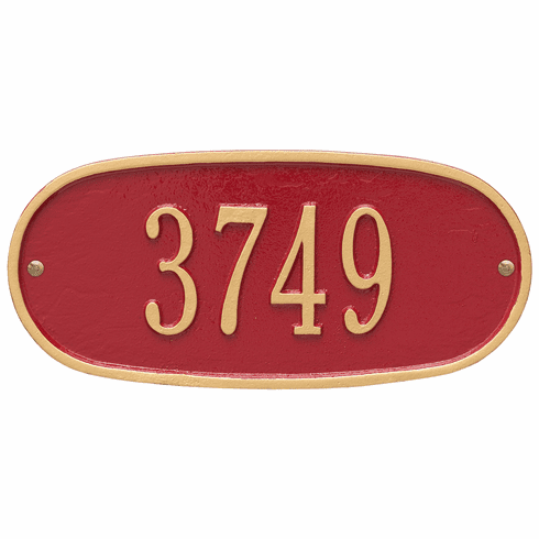 Oval Plaque Standard Wall One Line Plaque in Red and Gold