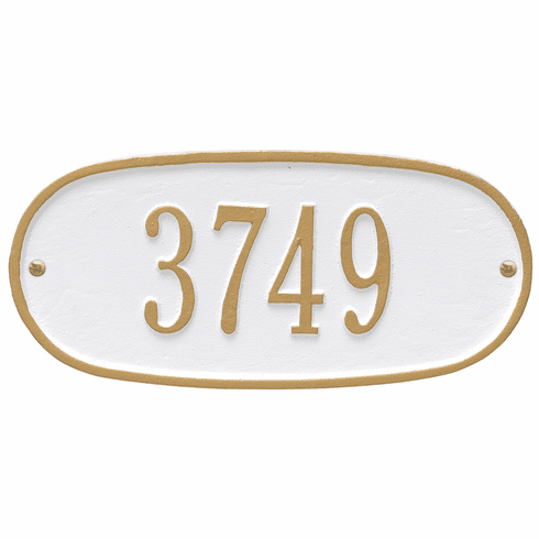Oval Plaque Standard Wall One Line Plaque in White and Gold