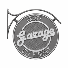 Package: Hanging Garage Plaque with Bracket in Pewter and Silver