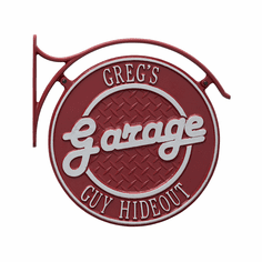 Package: Hanging Garage Plaque with Bracket in Red and Silver