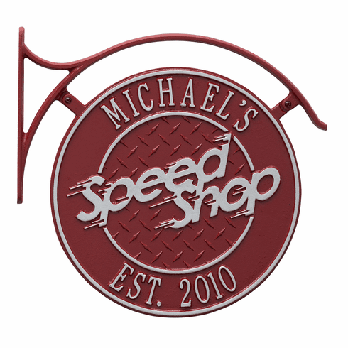 Package: Hanging Speed Shop Plaque with Bracket in Red and Silver