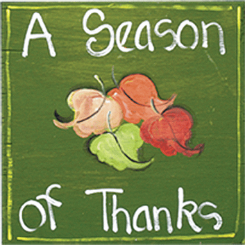 Painted Wood, A Season of Thanks Square Thanksgiving Sign, 12in x 12in