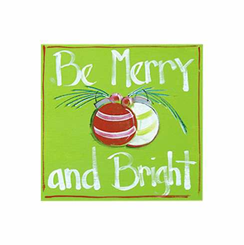 Painted Wood, Be Merry and Bright Merry Christmas Sign, 12in x 12in