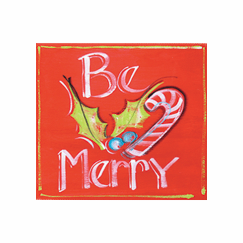 Painted Wood, Be Merry Christmas Sign, 12in x 12in