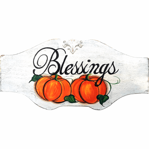 Painted Wood, Blessings Thanksgiving Sign, 32in x 19in