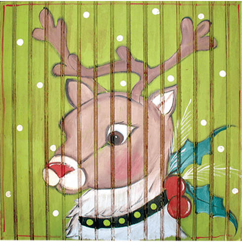 Painted Wood, Buck Merry Christmas Sign, 24in x 24in