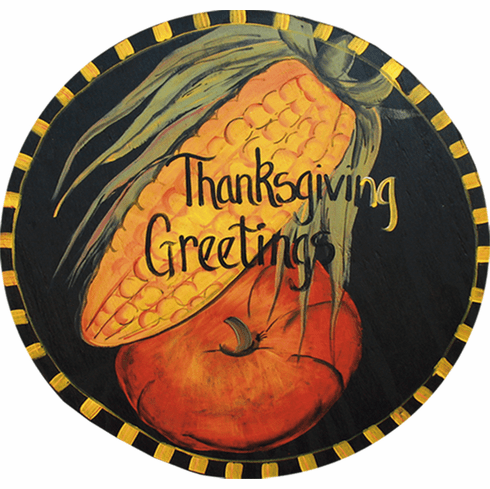 Painted Wood, Corn and Pumpkin Thanksgiving Sign, 24 inches round