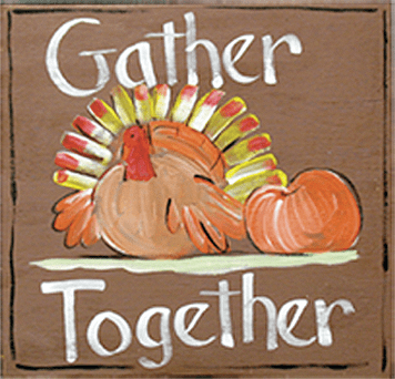 Painted Wood, Gather Together Square Thanksgiving Sign, 12in x 12in
