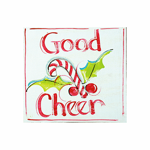 Painted Wood, Good Cheer Merry Christmas Sign, 12in x 12in