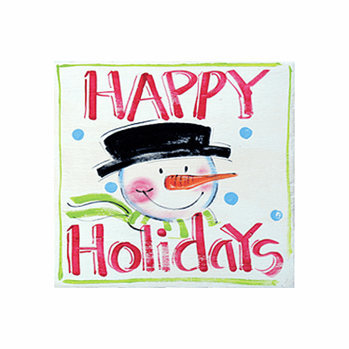 Painted Wood, Happy Holidays Merry Christmas Sign, 12in x 12in