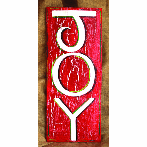 Painted Wood, Joy Merry Christmas Sign, 24in x 12in