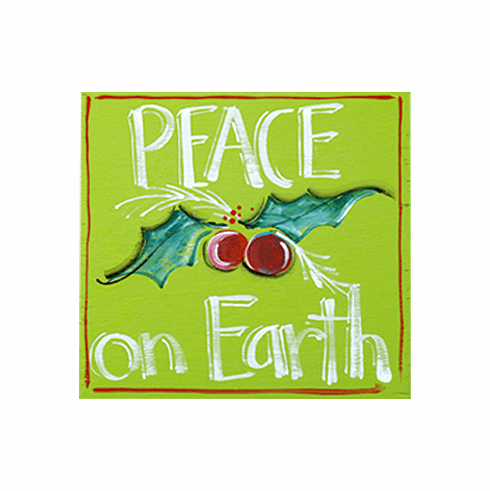 Painted Wood, Peace on Earth Merry Christmas Sign, 12in x 12in
